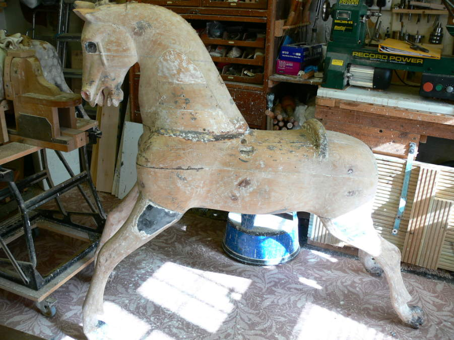 58 inch Ayres Rocking Horse Before Restoration